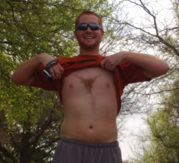 18 texas longhorns fan - fans with signs shaved into their chest back hair
