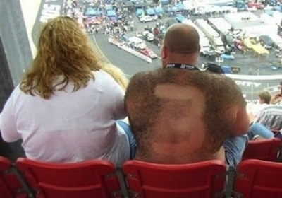 2 dale earnhardt fan - fans with signs shaved into their chest back hair