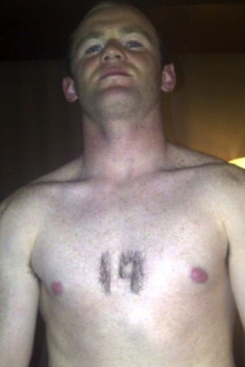 21 wayne rooney with chest hair shaved 19 - fans with signs shaved into their chest back hair