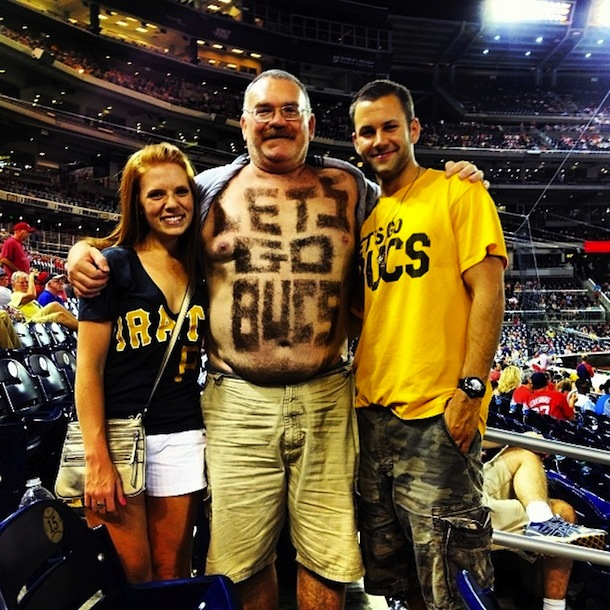 4 let's go bucs guy - fans with signs shaved into their chest back hair