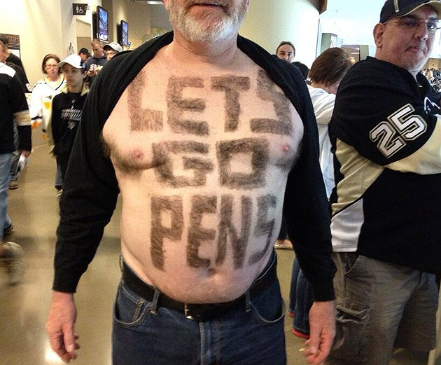 5 let's go pens guy - fans with signs shaved into their chest back hair