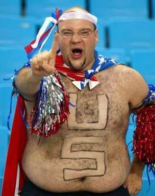8 usa fan - fans with signs shaved into their chest back hair