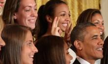 UConn Women's Basketball Team Gives President Obama the Bunny Ears (Photos)