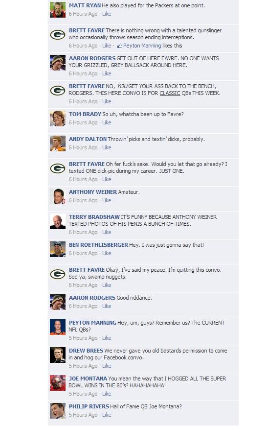 NFL QB Convos on Facebook - HOF Game 3