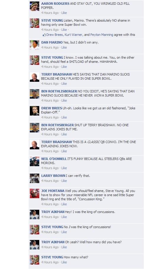 NFL QB Convos on Facebook - HOF Game