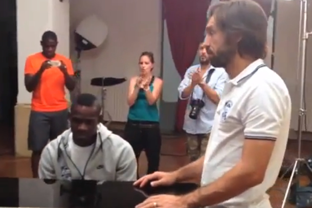balotelli plays piano for pirlo