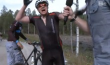 Let's All Laugh at This Cyclist As He Experiences Painful Cramps During an Interview (Video)
