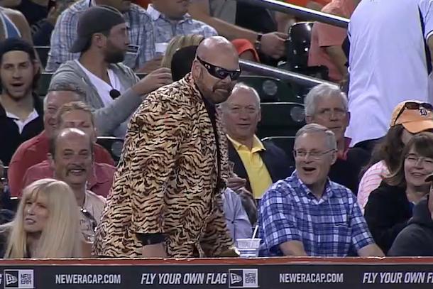 detroit tigers fan in tiger print jacket