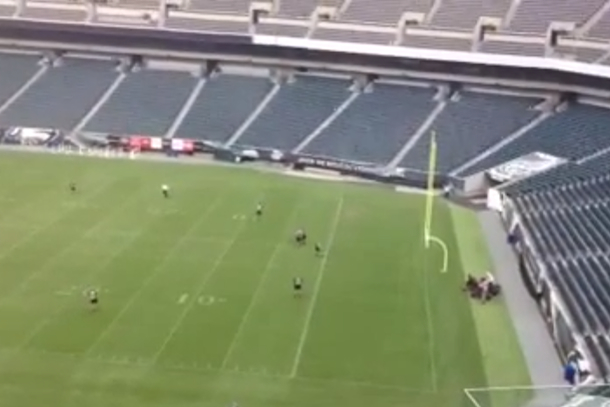 eagles security guards practice tackling streakers
