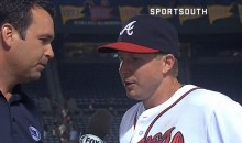 Braves Second Baseman Elliot Johnson Likes to Pretend He's a NASCAR Driver During Post-Game Interviews (Video)
