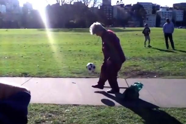 granny keep-uppie soccer juggling