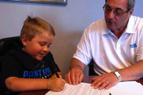 jack bolton 8-year-old carolina panthers coach