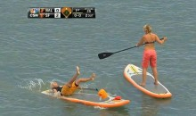 Giants Fan Falls On Her Rear in McCovey Cove (Video)
