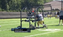 Notre Dame Running Back Rejected By Backwards Gauntlet Sled (GIF)