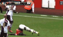 Arsenal's Bacary Sagna Flips, Falls on His Head (GIF)