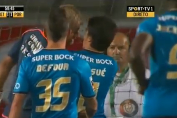 soccer goalie headbutts opponent after goal