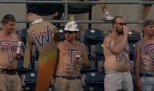 Twins Fans Come Up with Ingenious Solution to Missing Letter in their Human Body Paint Sign