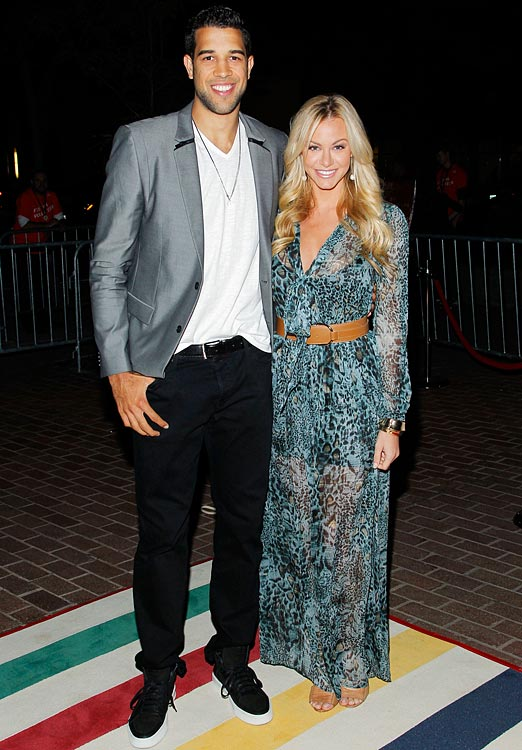 14 landry fields (raptors) and elaine alden (model) - athlete celebrity couples