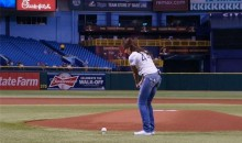 Golf Channel's Holly Sonders Chips Her First Pitch at Rays Game (GIF & Photos)
