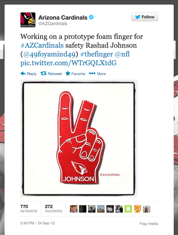 rashad johnson foam finger