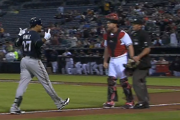 carlos gomez home run trash talk sparks brawl