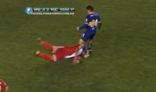 Face-First Slide Tackle is Not a Good Idea (Video)