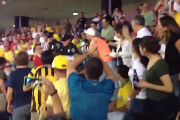 fan fight portugal-brazil soccer game