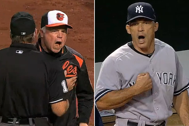 girardi and showalter right during yankees orioles game