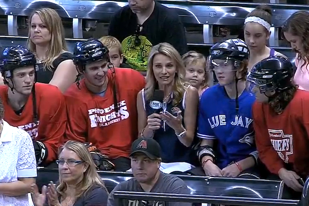 jays fans in full hockey pads in arizona