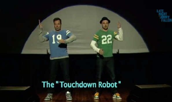 jimmy fallon and justin timberlake - evolution of end zone dancing