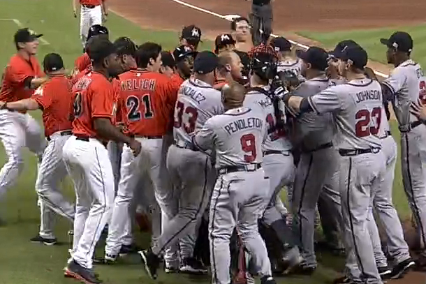 marlins and braves benches clear after jose fernandez home run