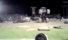 Monster Truck Stops On a Dime, Barely Avoids Killing Everyone (GIF)