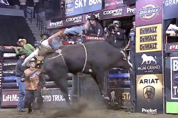 pbr bull rider hit by bull
