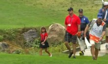 Tiger Woods Followed By Daughter In Matching Outfit At TPC Boston (Video)
