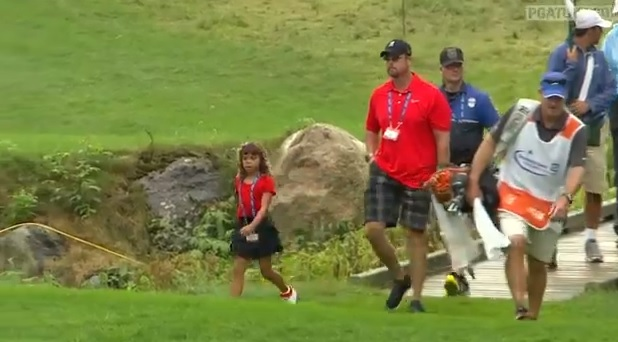 tiger woods followed by daughter in matching outfit at tpc