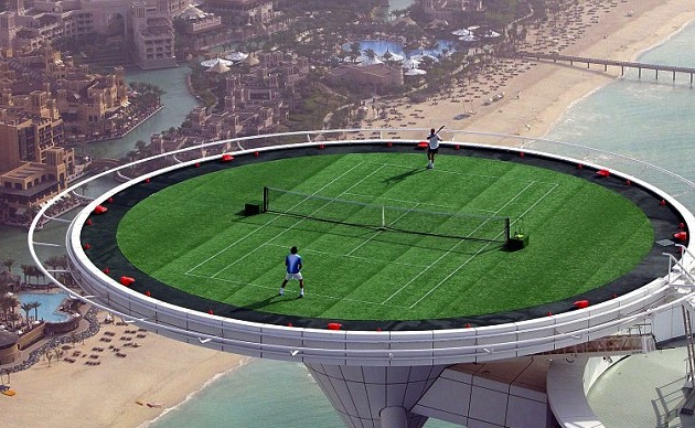 1 agassi and federer play on burj dubai helipad (2005) - weird sports venues