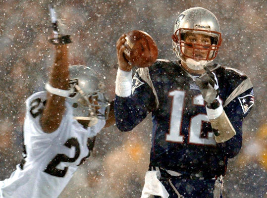10 brady sacked by charles woodson afc playoffs 2002 snow bowl - best tom brady 4th quarter comebacks