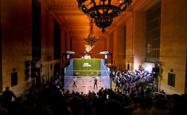 11 squash tournament at grand central station - weird sports venues