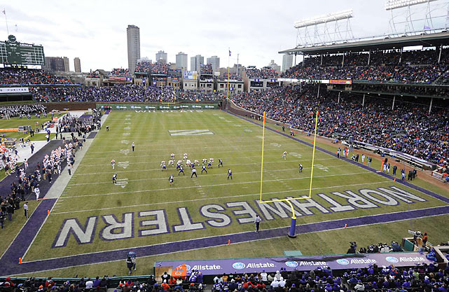 12 illinois vs northwestern at wrigley field - weird sports venues