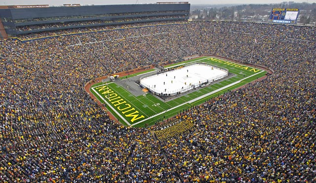 19 michigan-msu hockey at big house - weird sports venues