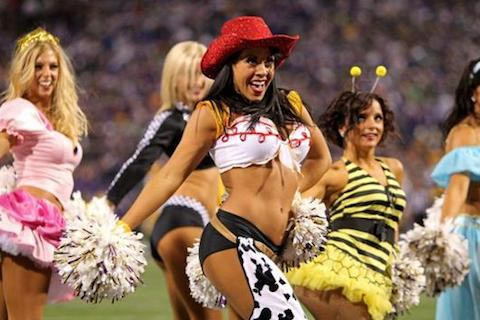 2 NFL Cheerleaders Halloween Costumes 2013 - vikings cheerleader sexy cowgirl