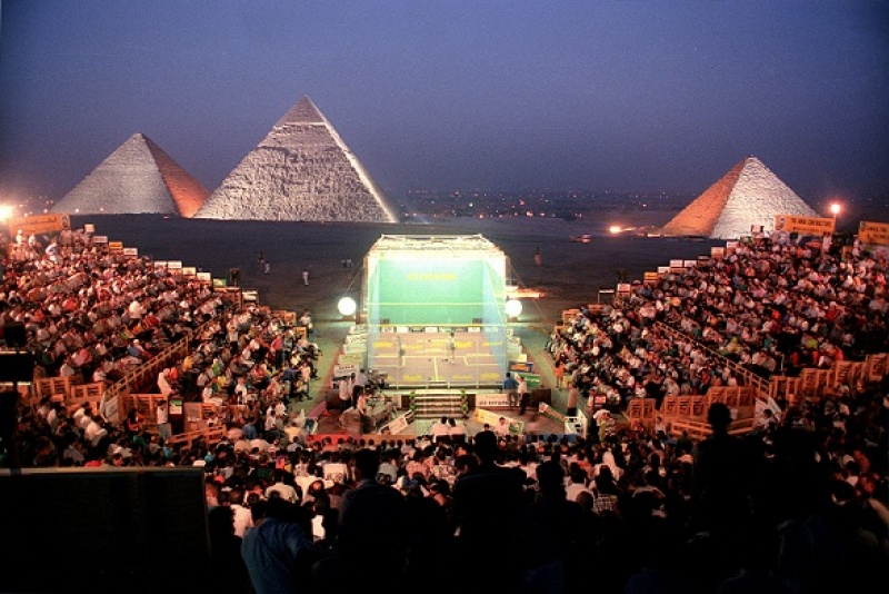 3 squash tournament in front of pyramids of giza - weird sports venues