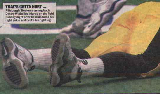 Destry Wright (Steelers Running back) gruesome injury - gruesome nfl injuries