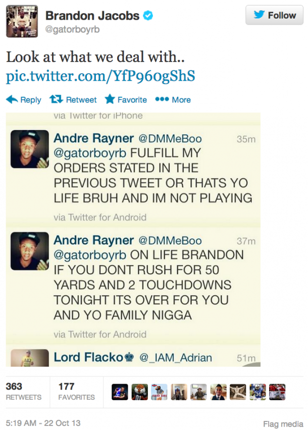 brandon jacobs death threat tweet