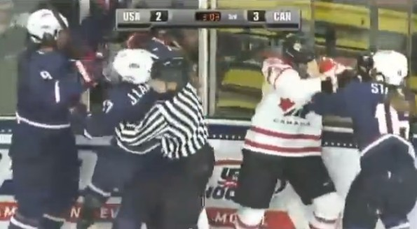 canada-usa women's hockey brawl