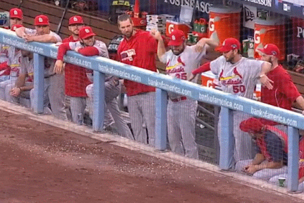 cardinals pitchers dugout dance