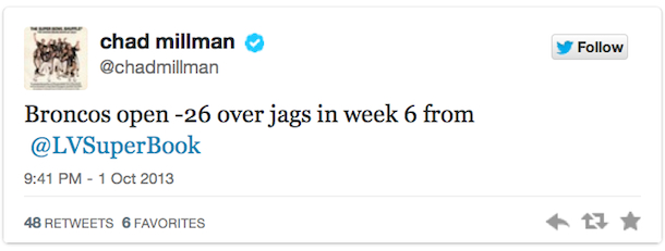 chad millman tweet broncos jags point spread