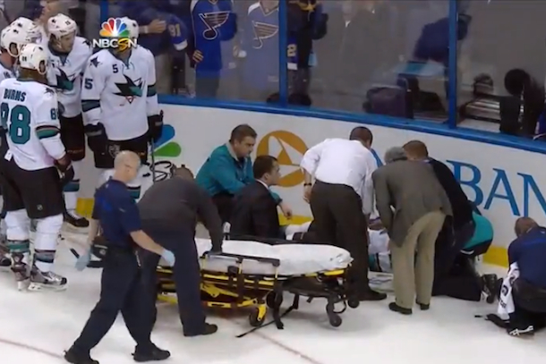 dan boyle take off on stretcher after maxim lapierre hit