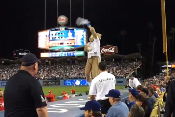dancing bear mascot at dodgers game