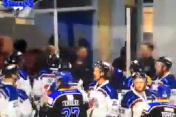 derek campbell fight during uk hockey game